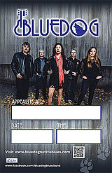 Bluedog logo with band with form fields to fill in venue, date and time of Bluedog performance