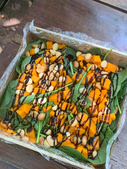 Roast Pumpkin, Spinach & Macadamia Nut Salad