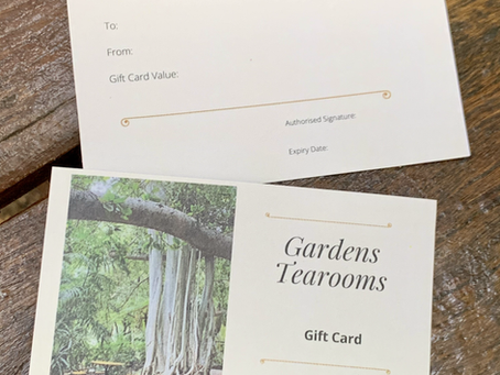 New Gardens Tearooms Gift Cards Ready for Christmas
