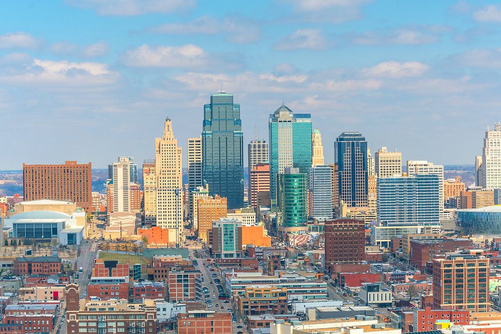 View of Kansas City skyline in Missouri,
