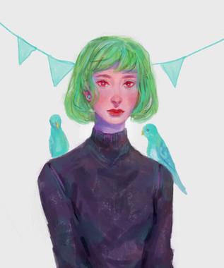 bird girl portrait painting