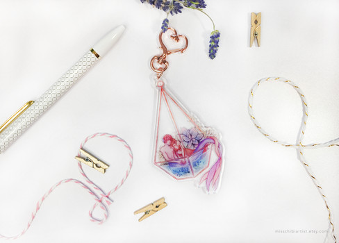 Terrarium Mermaids Acrylic Keychain Charm