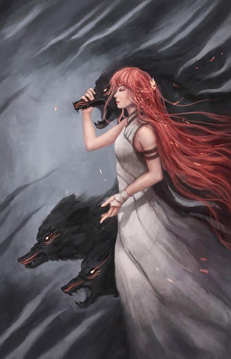 Fantasy girl illustration with wolves