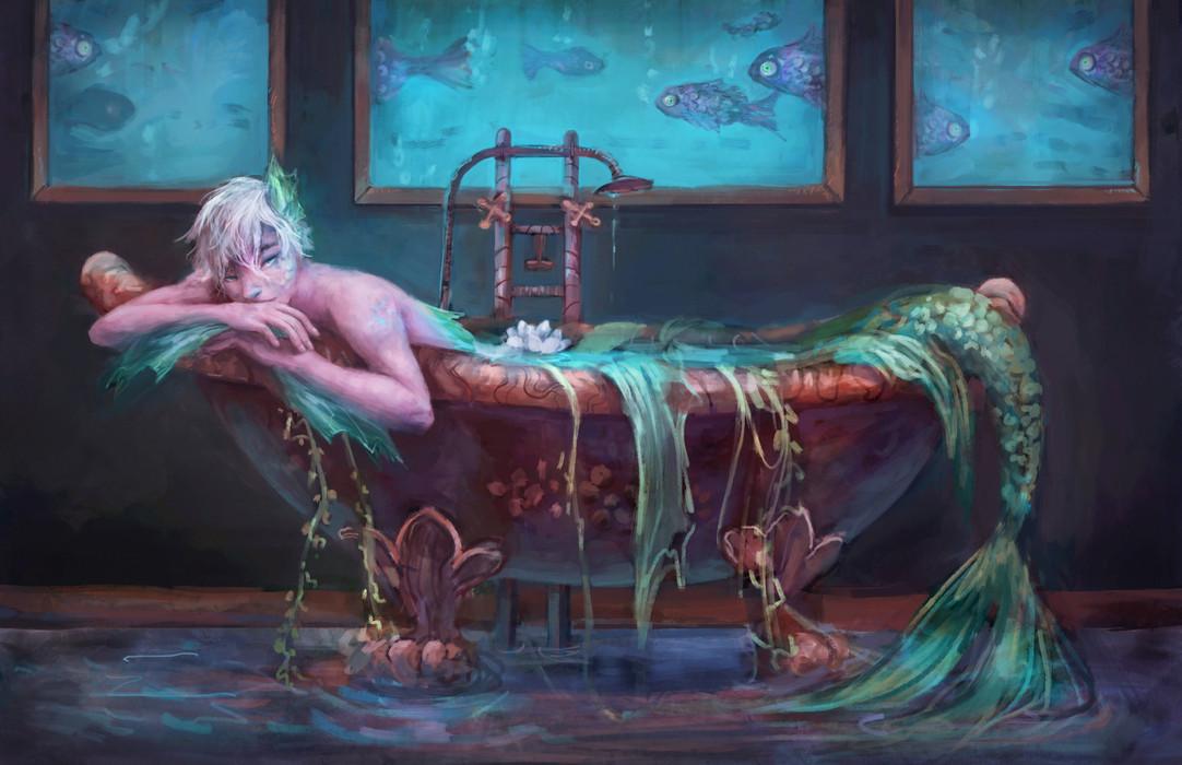 Mermaid illustration of merman in bathtub with fish