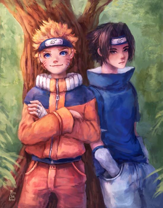Naruto and Sasuke illustration painting