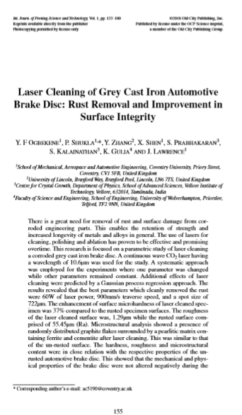 New Journal on Laser Cleaning of Automotive Brake Disc.