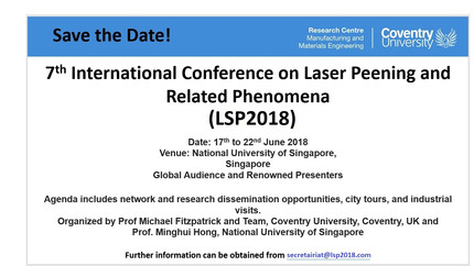 7th International Conference on Laser Peening & Related Phenomina (LSP2018) Organised!