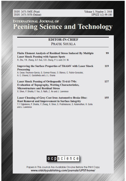 "Second Issue, Vol. 1 of ""International Journal of Peening Science and Technology""."