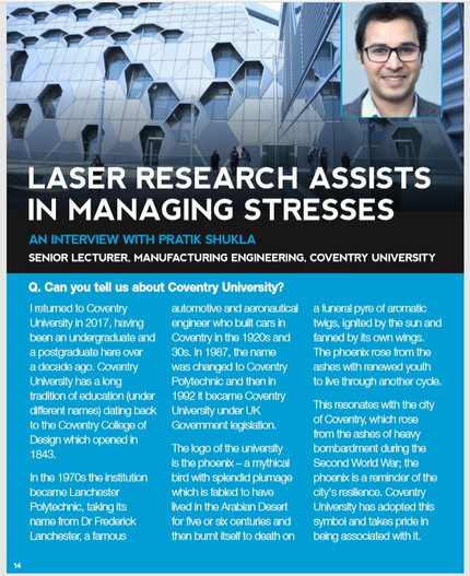 """Laser Research Assists in Managing Stresses"" - my latest article in The Laser User."