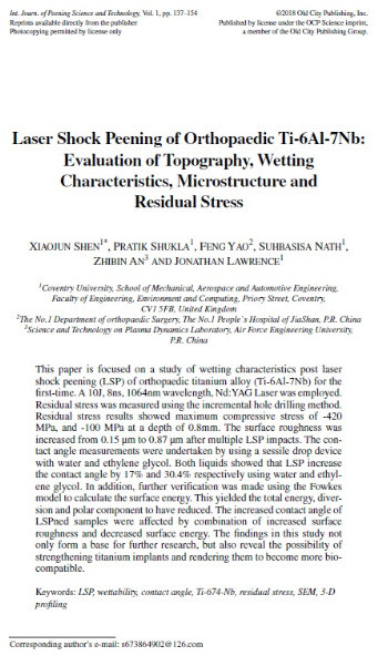 New Journal Paper on Laser Shock Peening of Orthopaedic-grade Titanium Alloys (Ti-6Al7Nb)