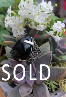 SOLD--Red amber & silver ring $1,300 pesos plus shipping (mas envio)