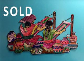 SOLD2--Framed popotillo weavers $950 pesos plus shipping / mas envio