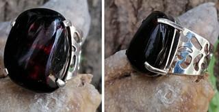 Red amber ring set in 925 sterling silver $1,200 pesos plus shipping (mas envio)