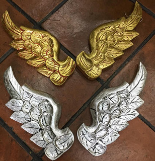 Hand-carved Wood Wings with Silver or Gold-leaf $850/pair (par) plus shipping (mas envio)