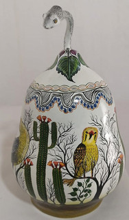 """Hand-painted Gourd """"Serpent & Desert Jewelry Container"""" $5000 pesos plus shipping (mas envio)"""