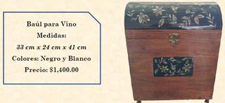 Wood inlaid w/abalone wine trunk $1,400 pesos plus shipping (mas envio)