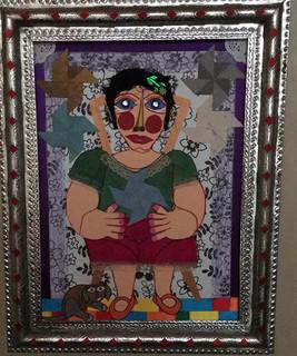 """""""Jugando con sus Reiletes""""  Collage with Tin Frame $4000 plus shipping (mas envio)"""