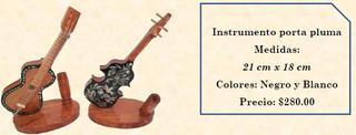 Wood inlaid w/abalone mini-musical instruments $280 pesos plus shipping (mas envio)