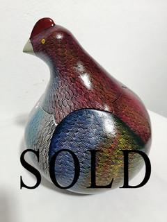 SOLD-Hand-painted Gourd Chicken 'M' $3200 pesos plus shipping (mas envio)
