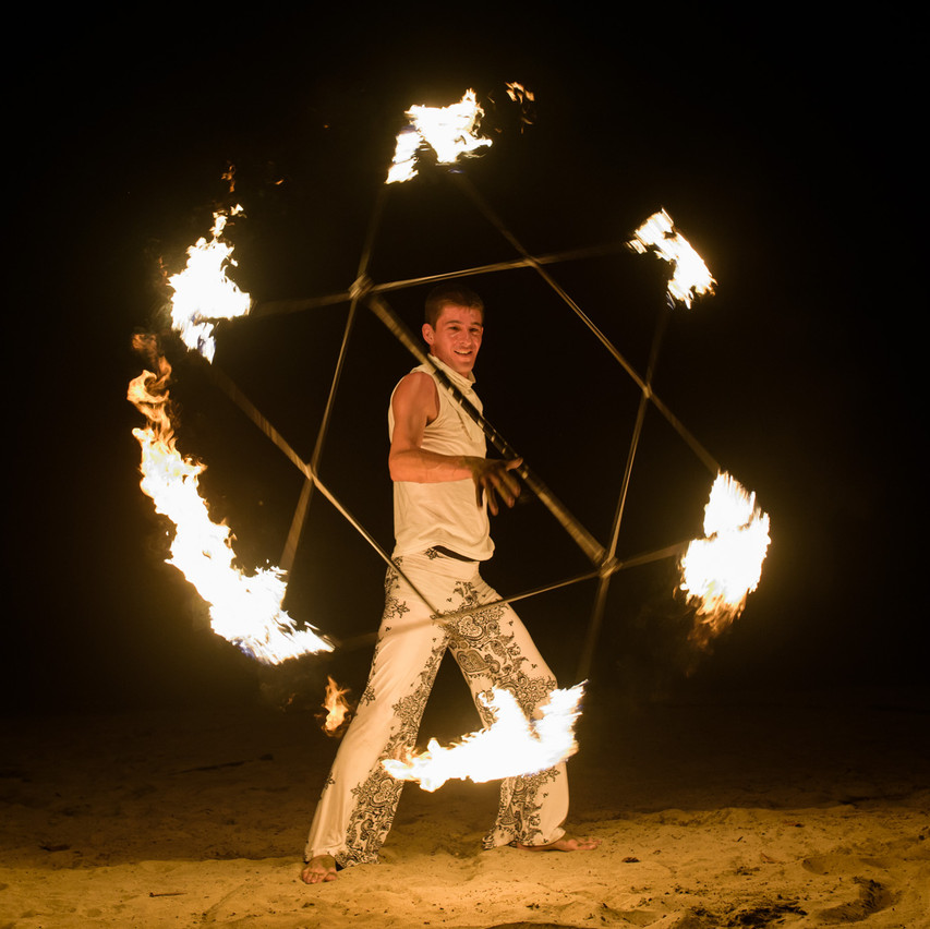 Fire show at Tamarindo Diria
