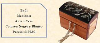 Wood inlaid w/abalone trunk $130 pesos plus shipping (mas envio)