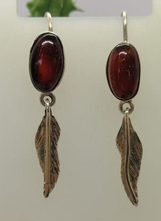 Red amber earrings set in 925 sterling silver $480 pesos plus shipping (mas envio)