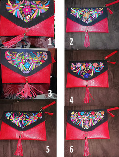 Otomi Leather Hand-Embroidered Clutch Purses $1850 plus shipping (mas envio)