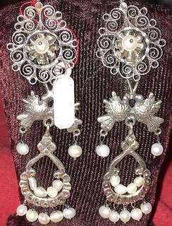 Silver Filigree Earrings with Birds & Pearls $1,600 pesos plus shipping (mas envio)