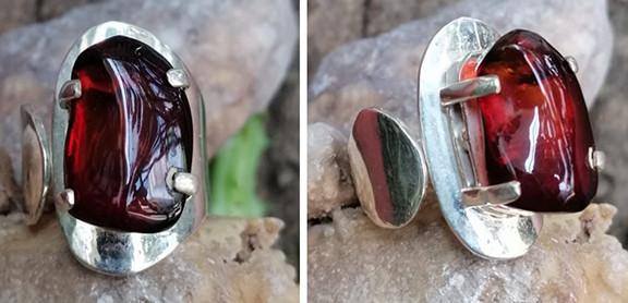 Red amber ring set in 925 sterling silver $750 pesos plus shipping (mas envio)
