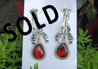 SOLD-Red amber earrings set in 925 sterling silver $950 pesos plus shipping (mas envio)