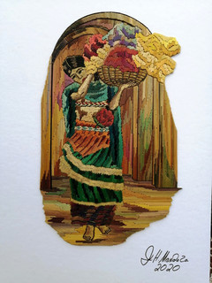 Popotillo Woman with Flowers $1,500 pesos plus shipping (mas envio)