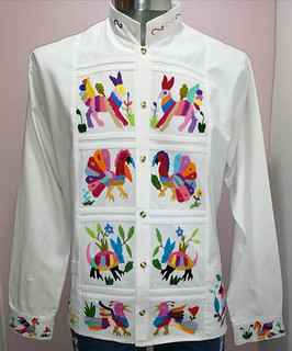 Cotton Guayabera with Otomi Embroidery (long or short sleeves) Sizes: CH, M, L $1650 pesos and XL $1800 pesos plus shipping (mas envio)