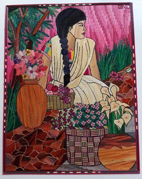 """Girl with Flowers"" Popotillo $950 pesos plus shipping (mas envio)"