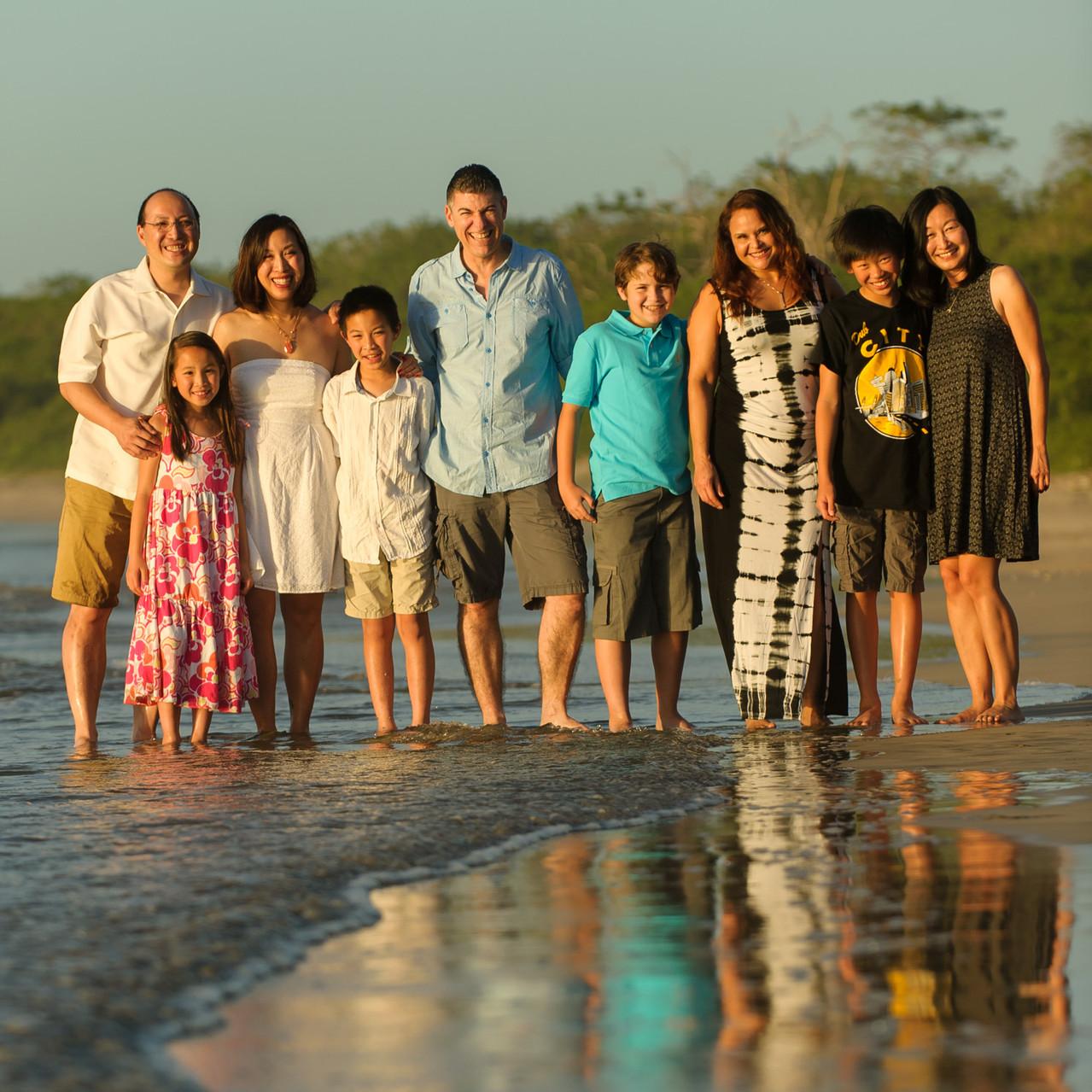 Family photos on the beach at Hacienda Pinilla