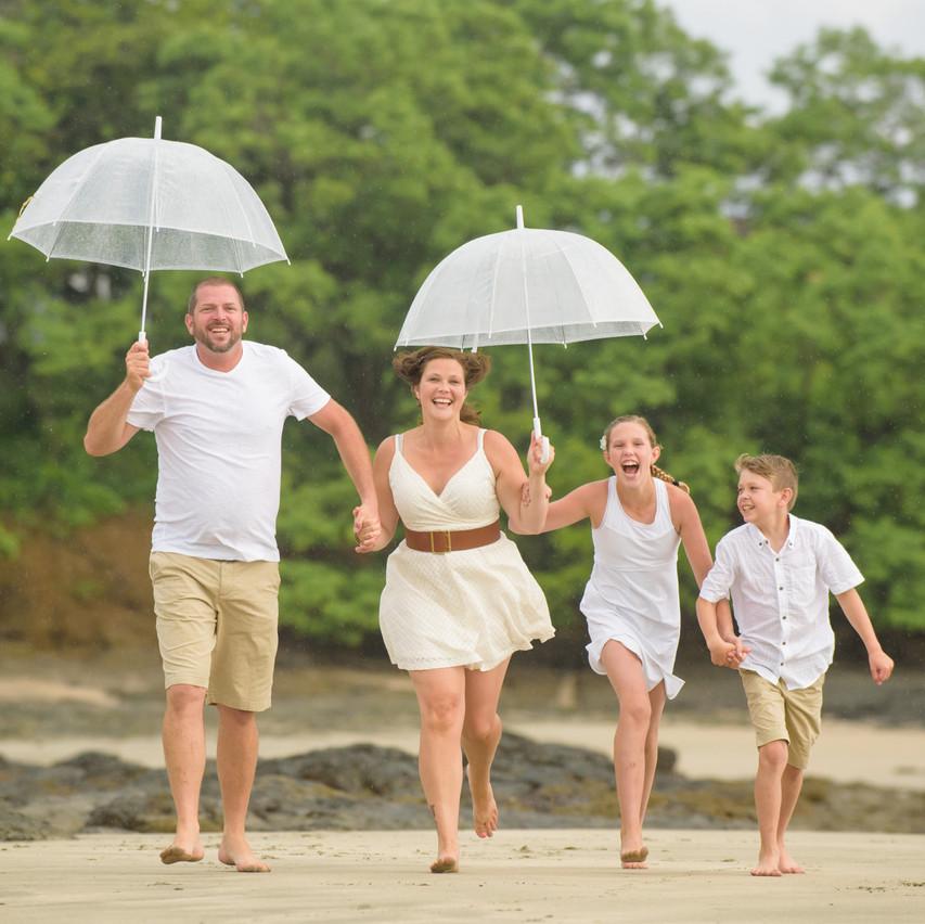 Fun on the beach with umbrellas in Tamarindo