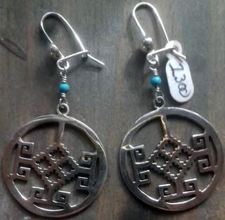 Silver Greek Pre-Hispanic design with turquoise earrings $1500 pesos plus shipping (mas envio)