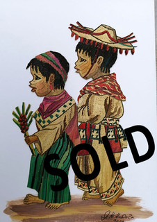 SOLD--Brother & Sister Straw Painting $1,500 pesos plus shipping (mas envio)