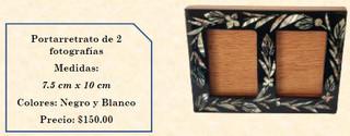 Wood inlaid w/abalone 2-photo picture frame $150 pesos plus shipping (mas envio)