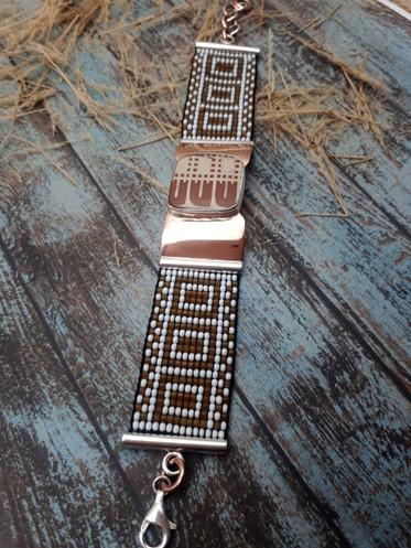 Silver Bracelet with Mata Ortiz Pottery $1,500 pesos plus shipping (mas envio)
