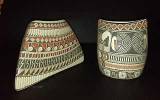 Set: One triangular, the other oval, painted with traditional designs $320 US/$6450 pesos plus shipping (mas envio)