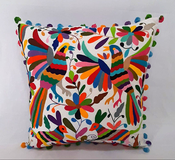 Cotton Pillow Cover with Otomi Embroidery $1000 pesos plus shipping (mas envio)