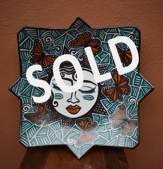 SOLD - Star Plate - woman & monarch butterflies $3,500 mas enviro / plus shipping