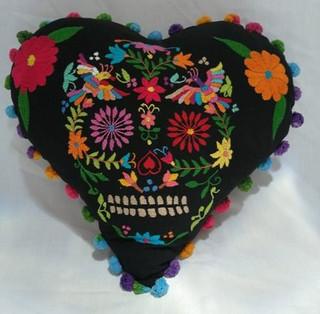 Cotton Skull Pillow Cover with Otomi Embroidery $850 plus shipping (mas envio)