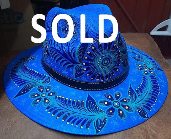SOLD-Hand-painted Hat $280 pesos plus shipping (mas envio)