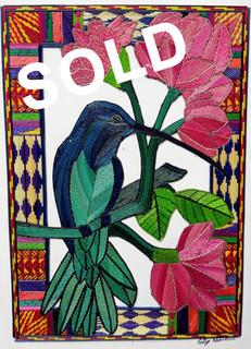 """SOLD-Popotillo """"Colibri con flor"""" $480 pesos plus shipping (mas envio)"""