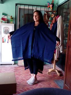 Large Navy Blue  Cotton Ruana/Poncho $1650 pesos plus shipping (mas envio)