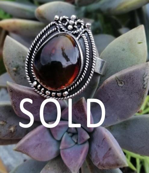 SOLD--Red Amber & Silver Ring $850 pesos plus shipping (mas envio)