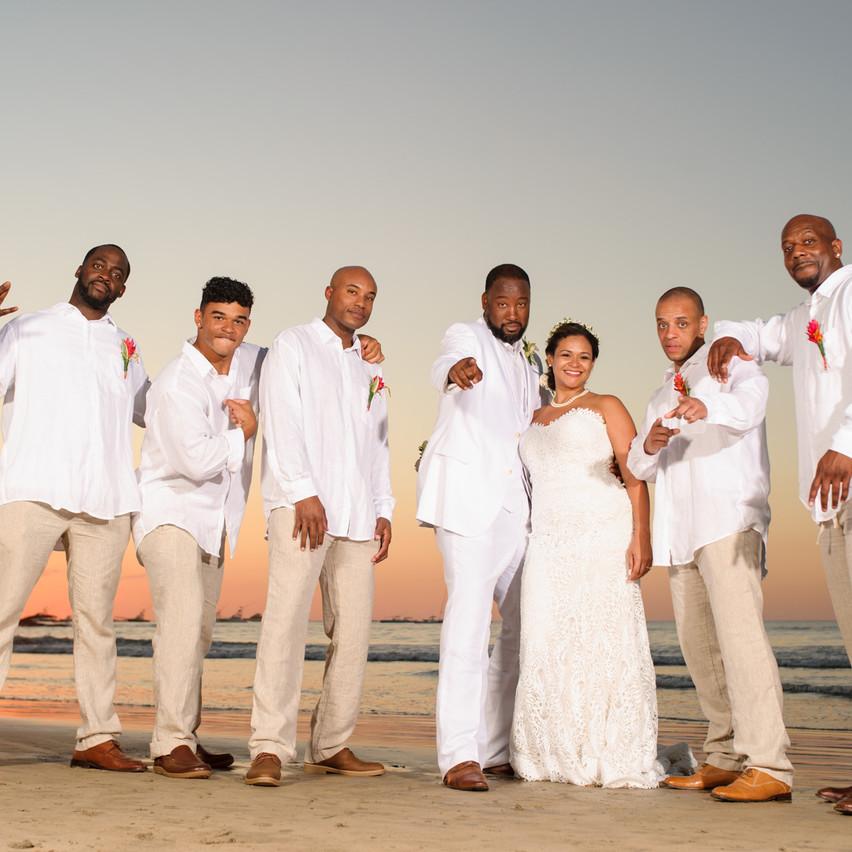 Groomsmen and the bride at Tamarindo Diria