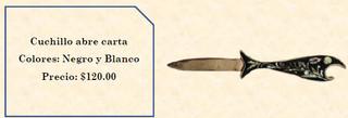 Wood inlaid w/abalone letter opener $120 pesos plus shipping (mas envio)