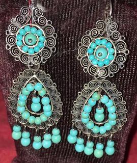 """Almonds"" Silver & Turquoise Earrings $1,600 pesos plus shipping (mas envio)"